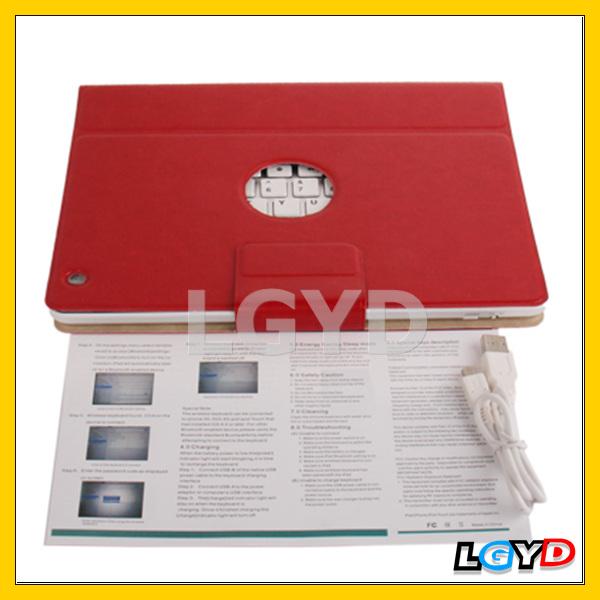 Hot selling Bluetooth 3.0 Keyboard Leather Case for iPad 4 / iPad 3 / iPad 2 (Red)