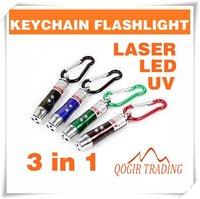 Светодиодный фонарик 3 in 1 Laser Pointer 2 LED Flashlight UV Torch Keychain 6084