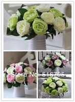 Классические розы искусственного шелка сушеные цветы украшения цветок обеденный стол цветок, зеленый, розовый, purplr, белый