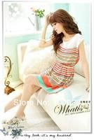 2013 Summer Mini Dress New Fashion Colorful Stripes Chiffon Dress Free Bowknot With Belt Women's Dresses free shipping
