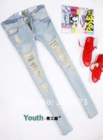 2012 Free shipping New Light blue Retro Low waist hole jeans women Wholesale & Retail