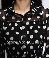 Женское платье SD37 Polka dot in Black 100% quality Guarantee New Silk chiffon Long sleeve long dress full linning Plus size