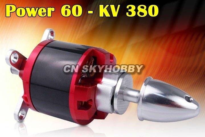 Power 60 KV380 brushless outrunner motor for airplane
