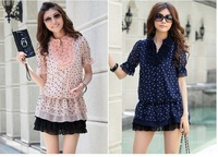 Женское платье 2012 New V Neck short sleeve fashion women dresses + and retail