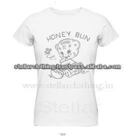 100% cotton Printed Ladies T-shirt - Honey - White.jpg