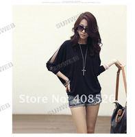 Женская футболка Fashion Women's Trendy Long Sleeve Loose T-Shirt Batwing Tops Blouses Black SHOPPING 3580