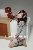 Free shipping Christmas snowflake Dear Knitting sweater Pattern Pullover printing Slim long sweater women