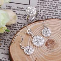 PDRS-LKN480,wholesale Zircon Silver jewelry set,Silver Neckalce Earrings  ring , high quality, 925,copper Silver Plated