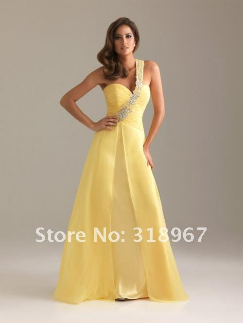 TS 2012 Big Discount Forever Love A-Line One shoulder Pleats Beaded Chiffon Yellow Wholesale Prom Evening Dress on Sale