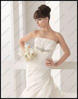 Свадебное платье EM-A030 Elegant Best Selling New Style Pleated Chapel Train Satin Fashion Bridal Wedding Dress