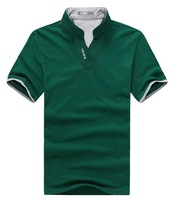2012 Mandarin Collar Short T Shirt  Men Polo Shirt V collar men's summer top green /black /white color