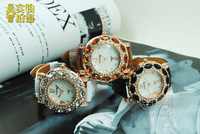 Наручные часы TP-094 Gogoey christmas gift Multi Colors Fashion Women Watch coffee Leather Lady Crystal watch with multi cute beads GO1936