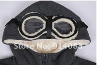 NEW arrival boy long sleeve casual sport thick cotton hoodie clothes/boy autumn winter down coat/glasses hat,inside thick fur