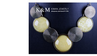 Колье-ошейник K&M- Looks beautiful fashionable round shape resin stone necklace with antique gold . Free shiiping, Nickel free