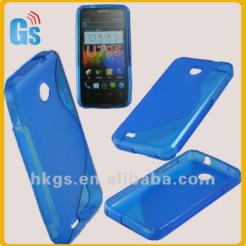 For zte u795 jelly tpu gel skin case blue