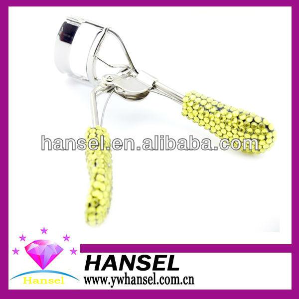 2014 hot-sale colorful hand shank bling plastic crystal tweezers eyelash curler