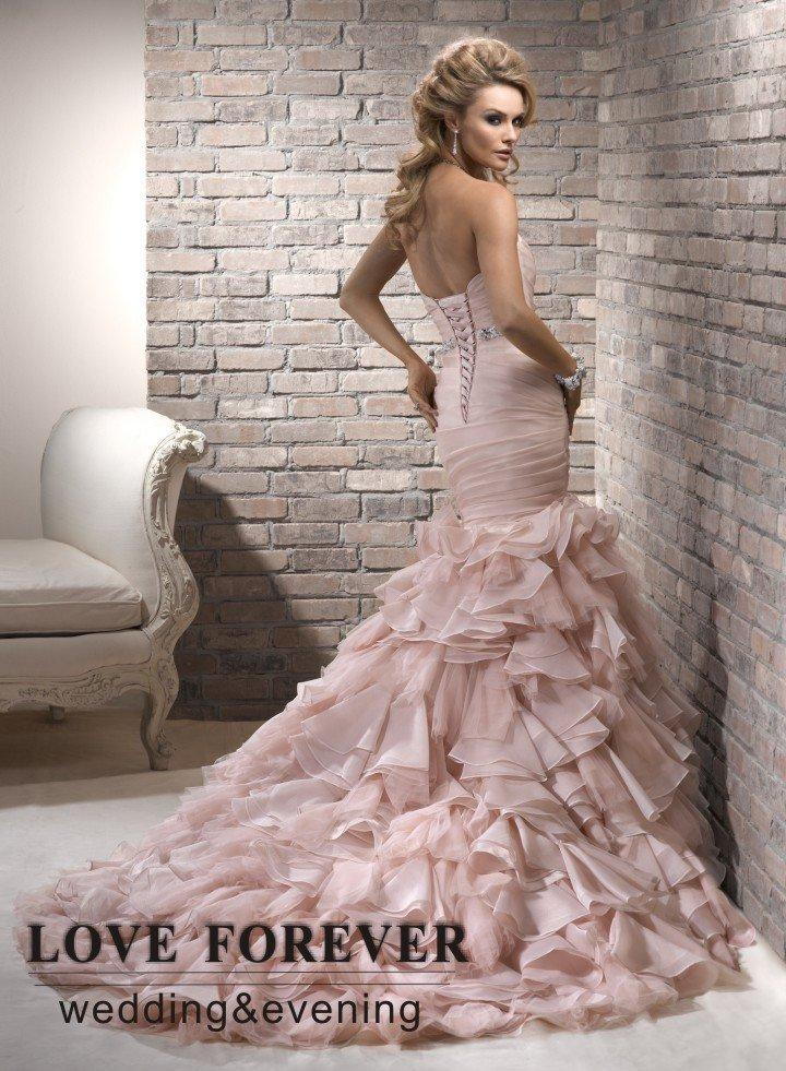 Pink Organza Black Ribbon Unique Sexy Mermaid Wedding Dresses 2012