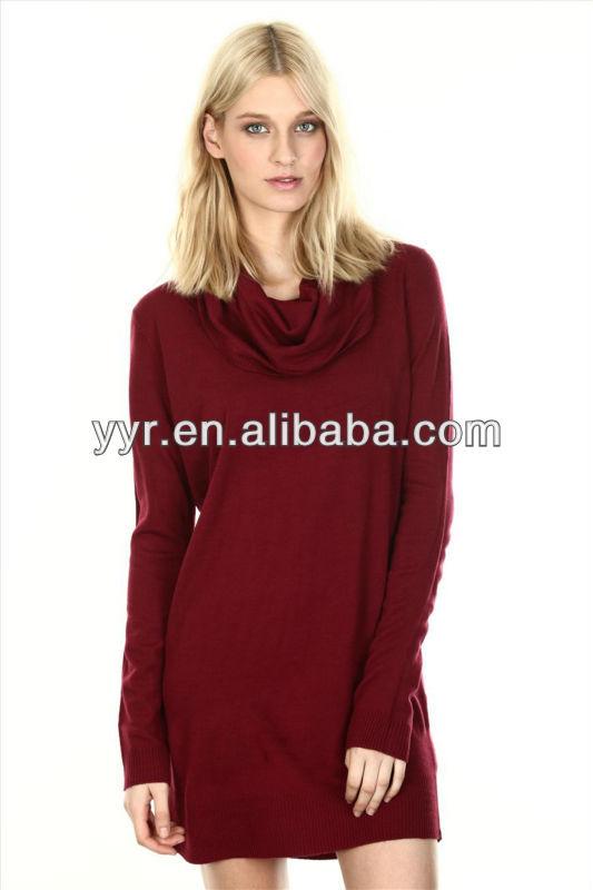 Fashion long sleeve knit red dress