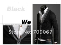 Мужской кардиган HOT fashion sweater New Mens Sweater Cultivate one's morality sweater big V lapel cardigan man small coat