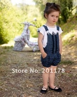 Комплект одежды для девочек 5sets/lot lovely tops+ suspender pant baby 's suits girl's suits 20120827O