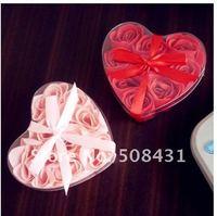 Free Shipping Fashion Romantic Love Soap Flower Rose Heart Shape Rose Petals 9pcs/box 12 boxes/lot