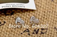 1 пара 100% полный 925 серебряные серьги сердце, micro pave серебряные серьги ювелирные изделия