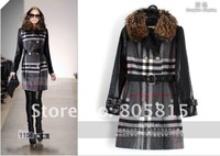 2012 Hot sale Newest Brand Winter Women's coats,Classic Design Plaid real fur collar thicker Long woolen overcoats