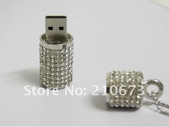 Crystal&Diamond cylindrical USB Flash Drive memory Stick fashion Gift 4GB- 32GB