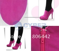 Туфли на высоком каблуке Fashion Vogue High Heel Shoes Ankle Women's Sexy Boots Stiletto Fish Mouth Rose Red