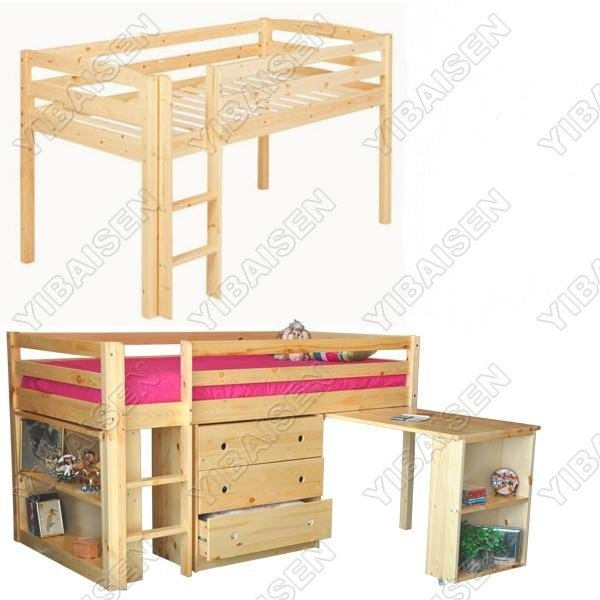 Pine Bunk Bed With Tent Wooden Solid