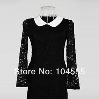 Женский костюм с юбкой fashion Lace Slim long-sleeved dress for women Autumn /winter two color women clothes retail