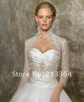 Free Shipping in Stock 3/4-Length Sleeves Organza Beaded Lace Ruched Bridal Jacket / Wedding Bolero Jacket  wholesale/retail