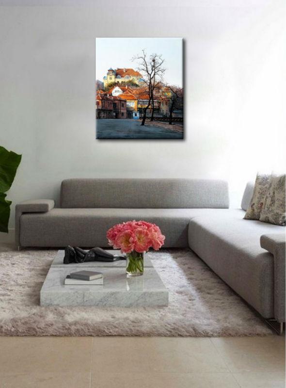 doek schilderijen afgedrukt dorpsleven olieverfschilderij voor ...