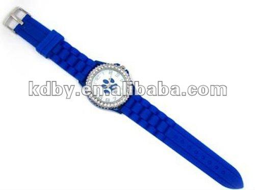 ROYAL BLUE Paw Print Silicone Gel Band Women WATCH