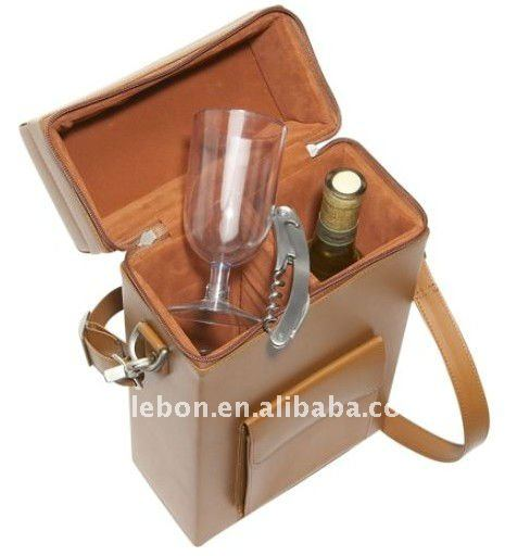 Practical Fashion leather Wine Carrier cooler bag lunch bag