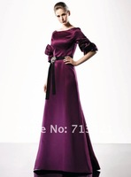 Вечернее платье shining scalloped half sleeve sashes evening dress ball pageant bridesmaid size custom 2012 hot