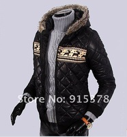 MEN'S FUR COLLAR HAT DOWN JACKET FASHION HOODED PARKA WARM WINTER COAT +SHOLESALE RETAIL HOODOES+ FREE SHIPPING (1PC) 099