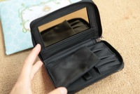 HB898 VIP GIFT COUTURE BLACK PATENT LEATHER BRUSH CASE WITH MIRROR ROUND ZIPPER PURSE MAKEUP BAG CLUTCH BAG