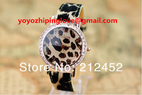 Наручные часы Original Brand Izimi 2012 new Dress Dimond fashion Leopard Leather Watch women, Japan Movement Quartz Watches