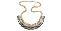 New Coming Gold Metal White Crystal Meniscus Collar Pendant Necklace Hot Sale free shipping RuYiXL038