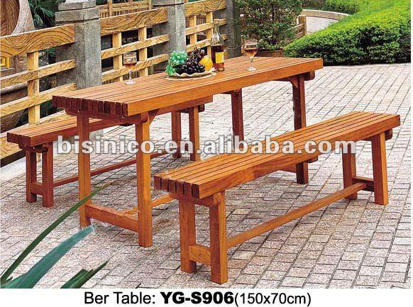 Jardin table en bois de la bi re avec banc en bois for Table exterieur avec banc