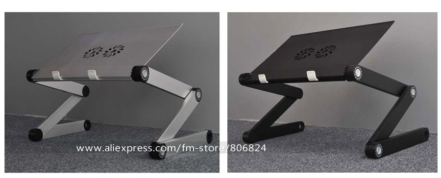 Adjustable Cooler Fan Notebook Laptop Table Bed Table Portable Bed Tray Book Stand, X7 Black