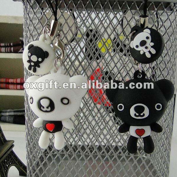 Cartoon PVC Bear Lover Phone Strap