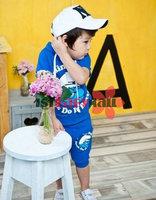 Комплект одежды для девочек 1st Baby Mall]! One set baby boys/girls Blue color Cartoon Wizard sports sets kids short sleeves clothing sets