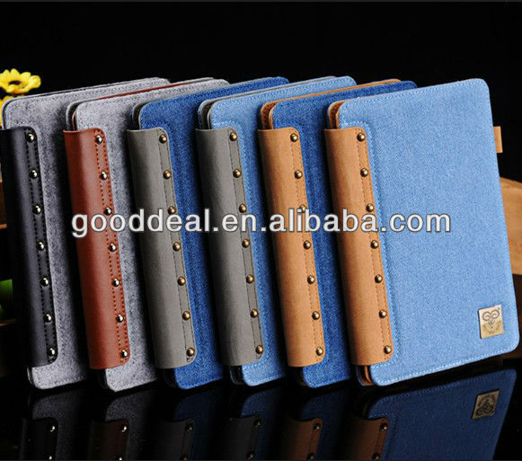 High quality Jeans Leather case for iPad mini