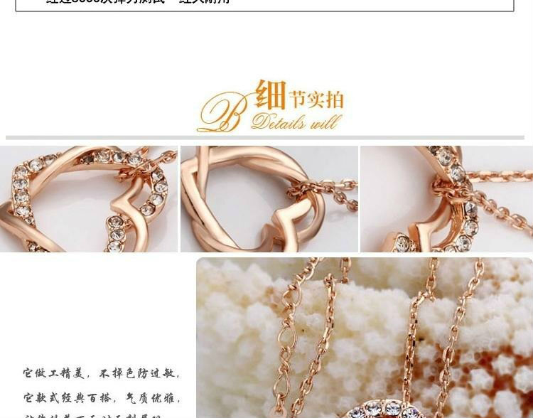 Free Shipping Double Heart Pendant Nickel Free Rose Gold Plated Necklace Costume jewelry wholesale beaded Necklace