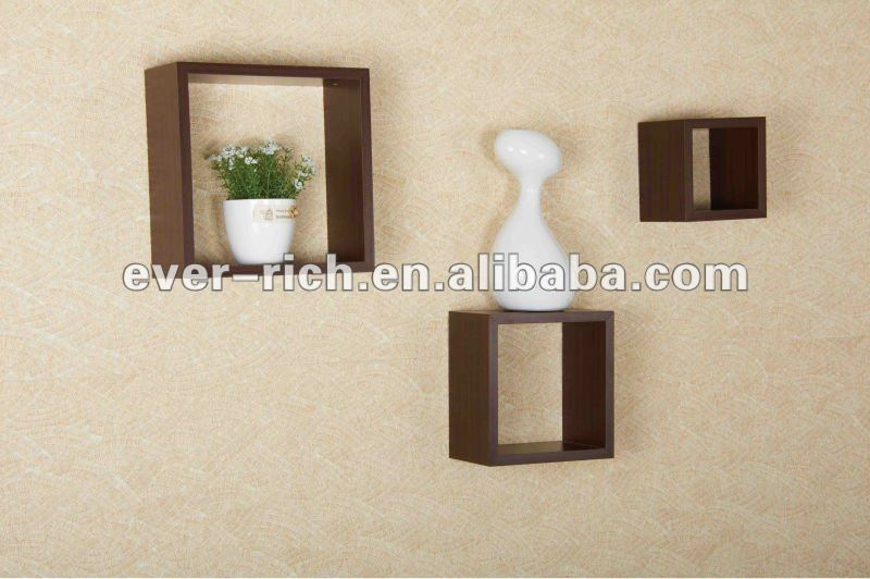 Wooden PVC Veneer Wall Shelf
