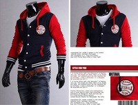 Free Shipping Mens Baseball Jerseys Letterman Varsity Jacket Turtleneck Jacket  sportswear dark grey red Navy JK59 Drop Shipping