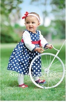 Платье для девочек 2012 New baby dresses children clothes dot full sleeve girl's dress SP-001