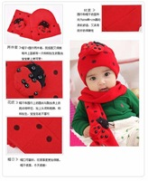 Детские Шарфы, Шапки, Перчатки MT3 Hot 100%Cotton Beatles hat baby cap children hat+scarf two piece set Toddler Boys & Girls hat and scarf